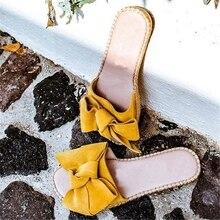 WENYUJH/Новинка года; женские шлепанцы с бантиком; сандалии с бантиком; шлепанцы для дома и улицы; пляжная обувь; женская модная обувь