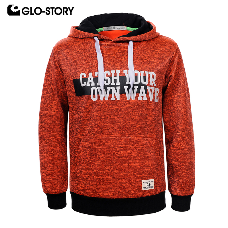 GLO-STORY Teenage Kids Hoodies Sweatshirts Boys 2018 Spring Front Pocket Letter Print Knitted Pullover Hoody Coat BPU-5858 kids letter print pocket tee