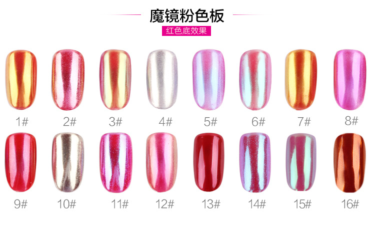 16 warna Shinning Cermin Nail Glitter Powder Cantik Nail Art Chrome - Nail art - Foto 3