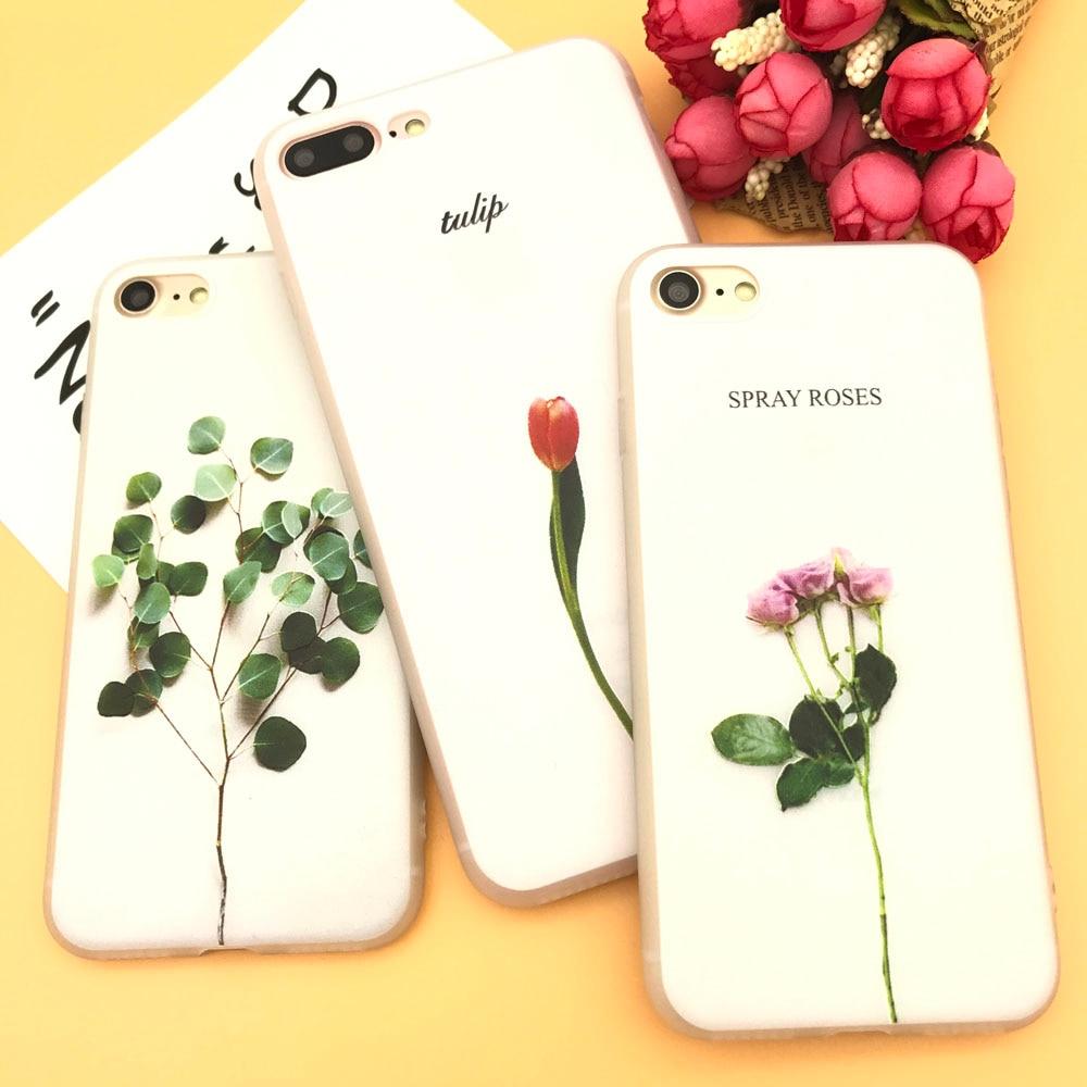 Ekone Телефон чехол для Coque iPhone 7 7 Plus 6 6 плюс 8 8 Plus рельеф цветок листья кремния для крышки iPhone 6 S 7