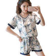 2019 Sleep Lounge Sleepwear Set Cotton Women Summer Femme Fa
