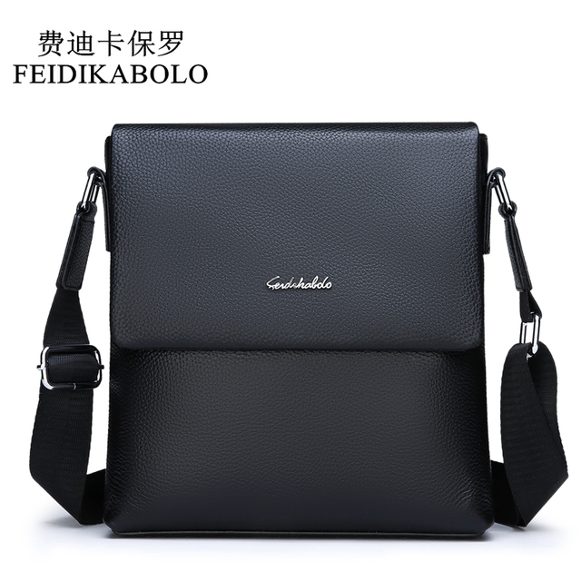FEIDIKABOLO Cow Genuine Leather Messenger bag men's shoulder bag Small Casual Flap male man Crossbody Bags for Men Leather bags