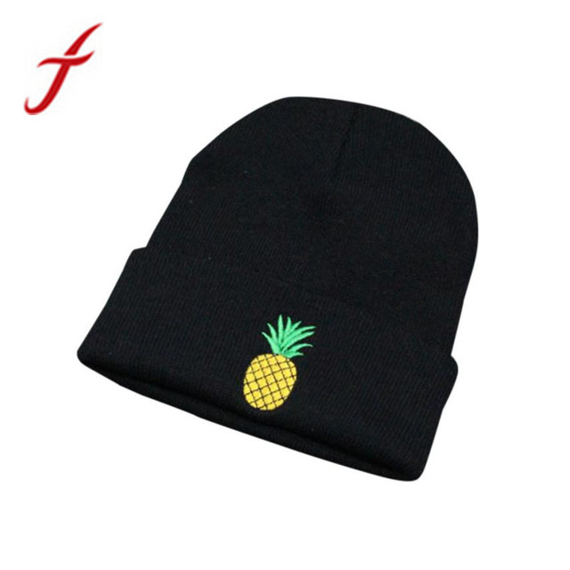 Feitong Winter Women Girl Rose Embroidered Pineapple Beanie Stocking Cap  Hiking Cuffed Knit Hat Warm Skull