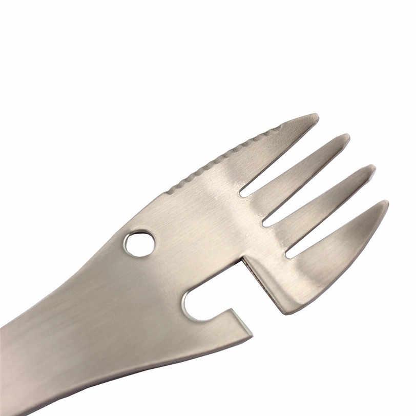 רב תכליתי קמפינג פיקניק titanium כפית כלי שולחן titanium מזלג Ultralight טהור titanium Spork בקבוק פותחן מזלג 8D14