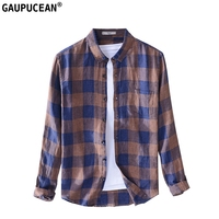 100% Linen Anti static Breathable Cool Dry Fast Anti microbial Summer Long Sleeve Man Shirt Male Plaid Coffee Men Casual Shirts