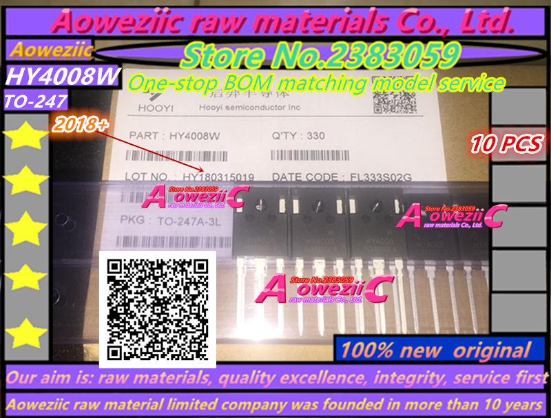 Aoweziic 2018+ 10PCS 100% new original HY4008 HY4008W TO-247 MOSFET inverter Ultra chip 80V 200A ixgh48n60c3d1 to 247