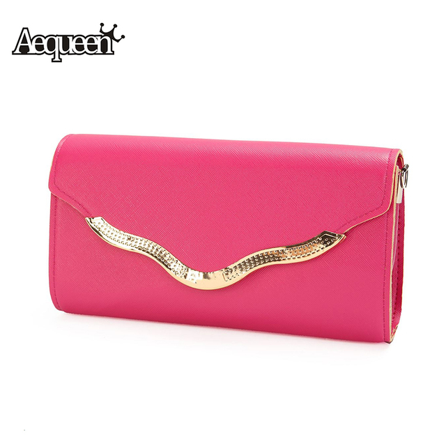 AEQUEEN Women Handbags Leather Luxury Famous Brand Designer Lady Day Clutches Long Pouch Party Evening Clutch Bags Shoulder Bag
