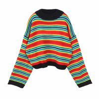 2017 Autumn And Winter New Rainbow Hit Colors Striped Sweater Embroidery Alphabet Short Paragraph Oversize Loose