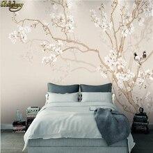 Beibehang пользовательские фото обои большие настенные наклейки Европейский Магнолия Ручная роспись цветы и птицы фон стены