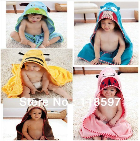 Free shipping!baby bathrobes,high quality 100% cotton cartoon bathrobes, 5 designs baby beach gown. wholesale special Bath towel