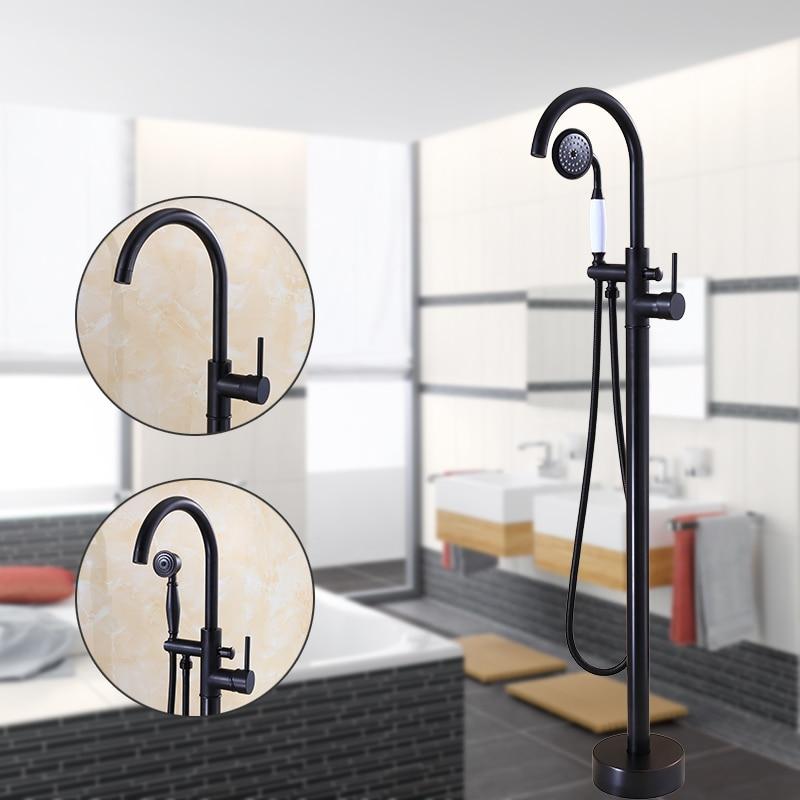 Modern Free standing Bathtub Faucet Tub Filler Fashion Black Oil brushed Floor Mount with Hand shower Bathtub Mixer Taps