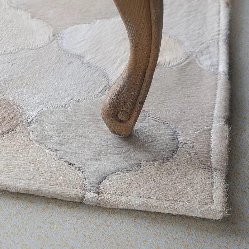 Moderne minimaliste ins scandinave salon table basse patchwork en cuir de vachette tapis mode tapis - 4