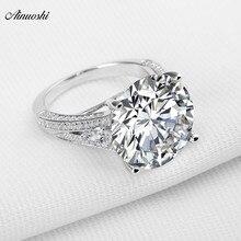 AINOUSHI большое роскошное обручальное кольцо с круглой огранкой Sona из настоящего серебра 925 пробы для женщин, помолвки