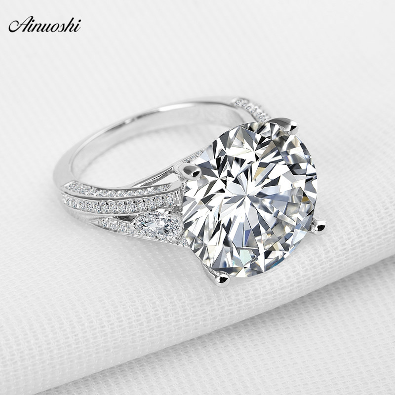 AINOUSHI Big Luxury Wedding Ring Round Cut Sona Genuine 925 Solid Sterling Silverfor Women Engagement