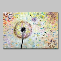 Mintura Art Hand Painted Flower Dandelion Oil Painting on Canvas Wall Art Wall Pictures For Living Room Home Decoration No Frame