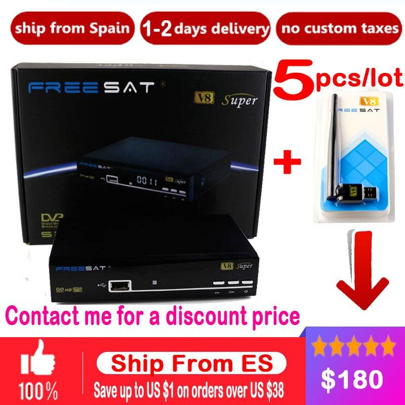 5 pcs Numérique TV Satellite Récepteur Freesat V8 Super DVB Tuner soutien Newcamd Clines DVB-S2 HD FTA Freesat V8 Récepteur + USB WIFI