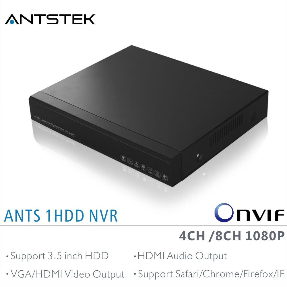 ANTS 4CH 8CH Desktop NVR support 4/8 pieces Onvif 1080P IP Camera, with AEEYE App live view and playback and HDMI Audio output купить