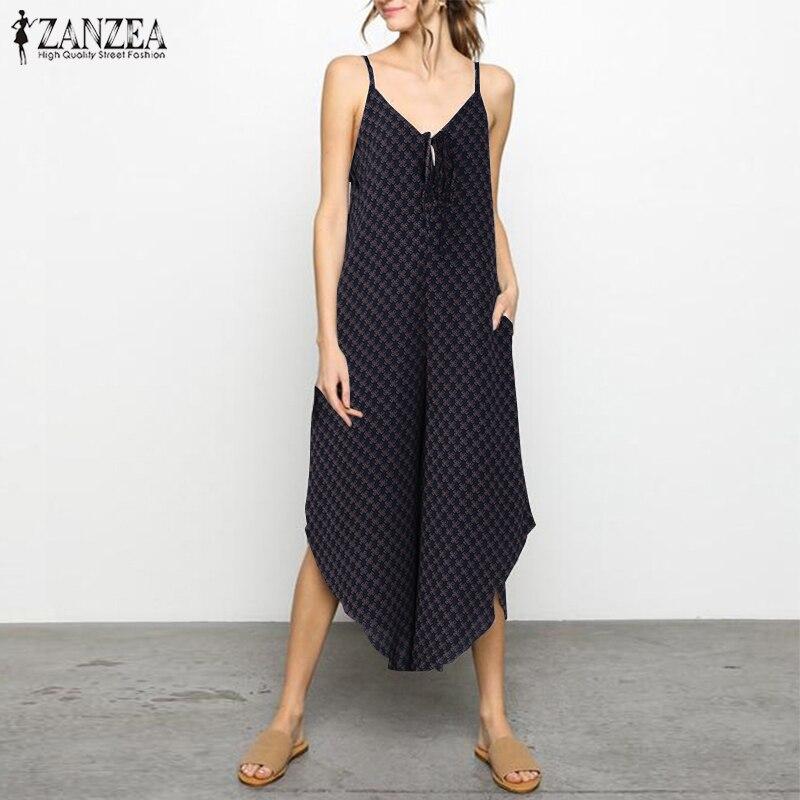 790fbdcd3b8 Jumpsuit Women Wide Leg Trouser ZANZEA 2018 Summer Plus Size Playsuit Print  Bodysuit Casual Starppy Asymmetric Hem Rompers Pants-in Jumpsuits from  Women s ...
