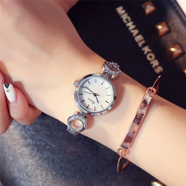 KIMIO Moon Shape Rhinestones Rose Gold Watch Women Bracelet Watch Quartz Women's Ladies Watches Top Brand Luxury Wristwatch Sale