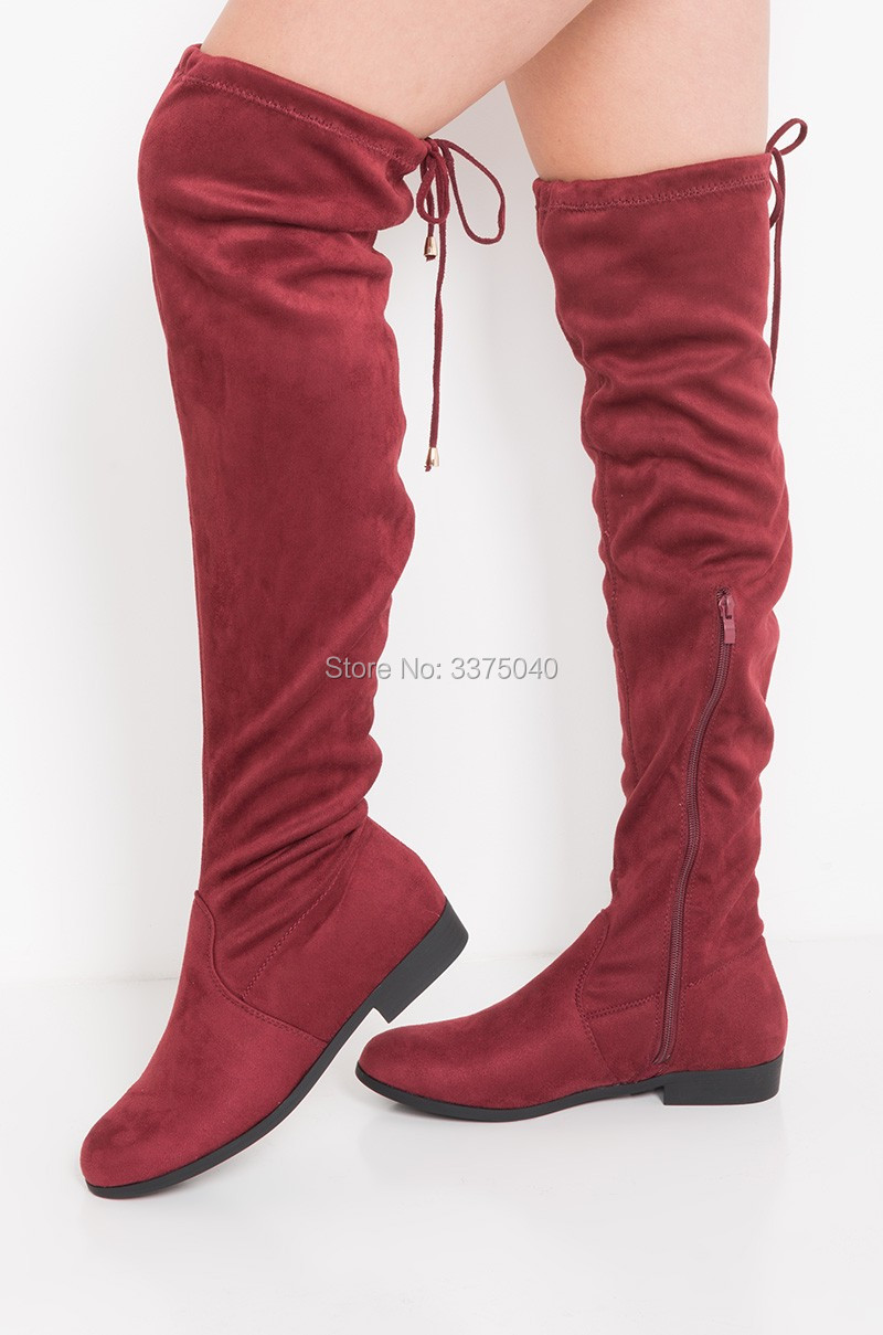 New stylish Thigh High Boots Round Toe Wind Red Suede Long Boots Women Over the Knee Boots Flat Female Boots недорго, оригинальная цена