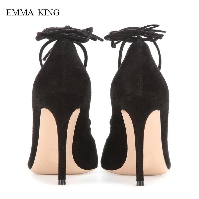Talons Daim De Robe Bride up Tout allumette En Femmes Femme Mode Beige À Mujer Bout noir Pointu Pompes Cheville Parti La Hauts Zapatos Chaussures Dentelle Stilettos qwxaCfPw