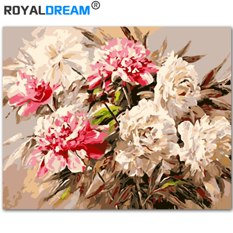 ROYALDREAM White Bouquet DIY Painting By Numbers Acrylic