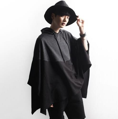 2017 Fashion Stylish Gothic Cloak Jacket European Hooded Pea Coat Mens Trench Coat Men Long Jacket Windbreaker Mens Cape Coat