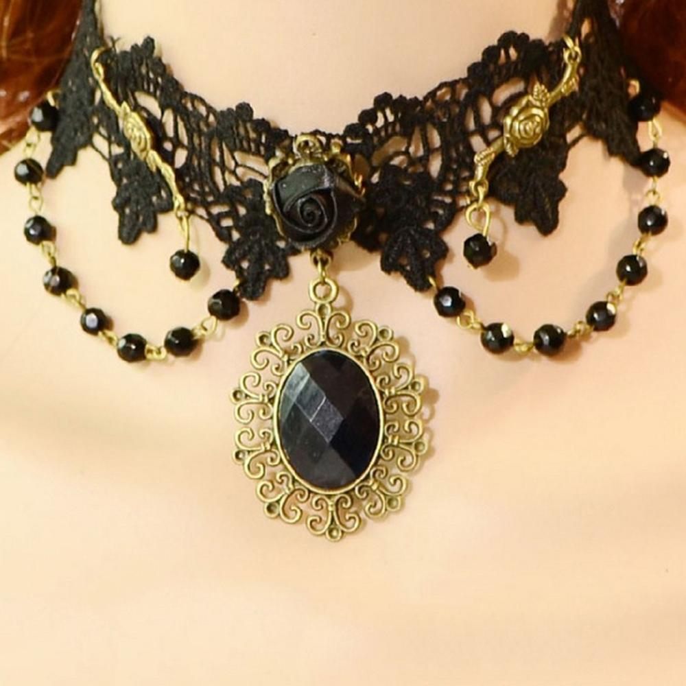 Vintage Gothic Jewelry Flower Black Lace Necklaces For Women Wedding Party Victorian Lace Tassel False Collar Choker Necklace in Choker Necklaces from Jewelry Accessories