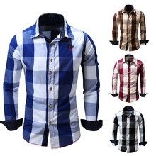 ZOGAA 2019 Spring Autumn Men Fashion Brand Dyed Plaid Cotton Shirt Mens Long-sleeved Thick Casual Clothing