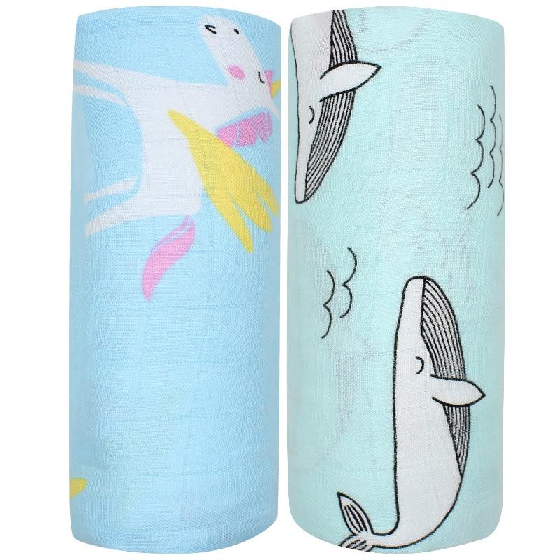 2pcs Set Bamboo Cotton Muslin Baby Swaddles 120x120cm Newborns Baby Blankets Multifunctional Infant Gauze Bath Towel Hold Wraps