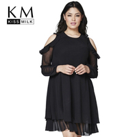Kissmilk Plus Size Women Clothing Basic Solid Dress Cold Shoulder Ruffle Chiffon Long Sleeve Big Size