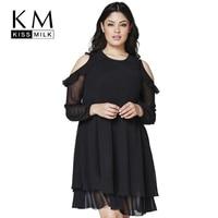 Kissmilk Plus Size Women Clothing Basic Solid Dress Cold Shoulder Ruffle Chiffon Long Sleeve Big Size Dress 3XL 4XL 5XL 6XL