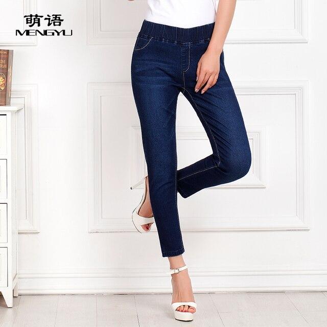 Женщины упругие талии карандаш брюки женские лодыжки длина джинсы лето осень брюки тонкий тонкие джинсы тощий брюки джинсовые 9901