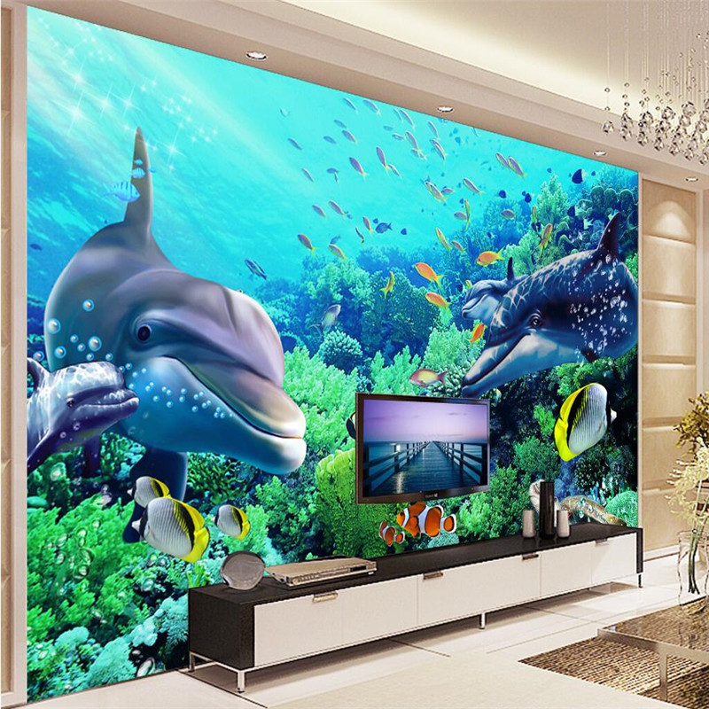 beibehang wallpaper silk underwater world dolphin background modern decorative painting 3d large murals living room foto tapeten