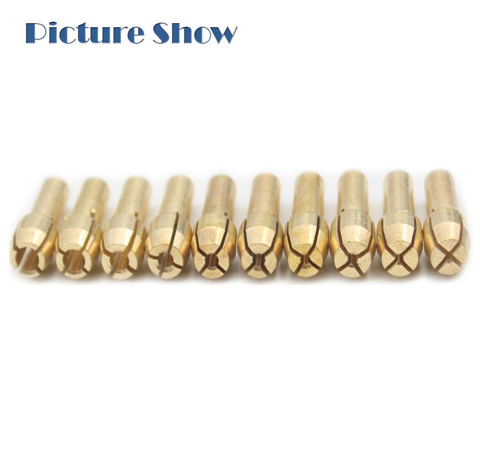 10pcs//set laiton Drill Chuck Collet Bits 4.3 mm tige Dremel Outil Rotatif Golde