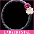 Ladycrystal 38CM White Rose Cute Flowers Bling Steering Wheel Covers 15 Inch Premium Synthetic Leather Steering Wheel Cover