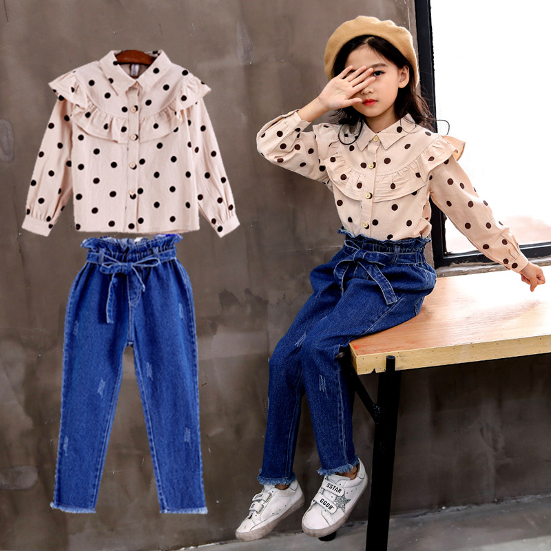 Fall Kids Clothes Set 2018 New Fashion Children Clothing Long Sleeve Dot Blouse + Jeans 2pcs Autumn Toddler Girl Clothing 8 9 10 цена и фото