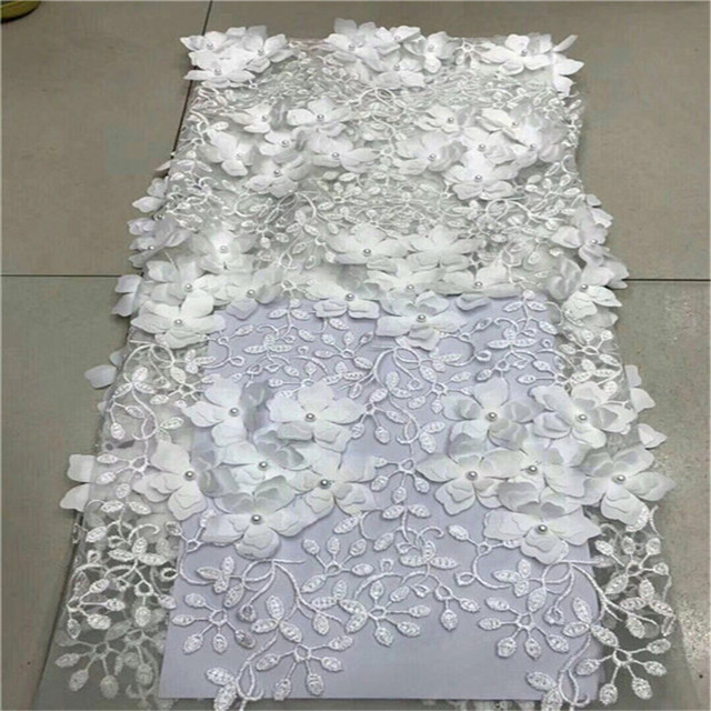 African French Lace Fabric With 3D Flowers High Quality African Tulle Lace Fabric With Beads 5yards White Lace Fabric CDA6A-1