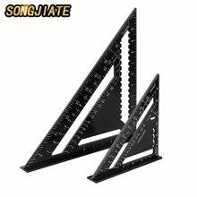 SONGJIATE треугольная измерительная линейка 7 дюймов/12 дюймов алюминиевый сплав угловая линейка 90 градусов скорость квадрат