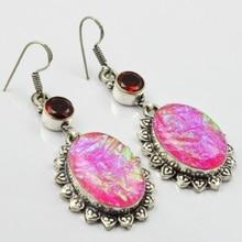 Dichroic Glass & Garnets, Silver Overlay on Copper Earrings, , 65mm  E1912