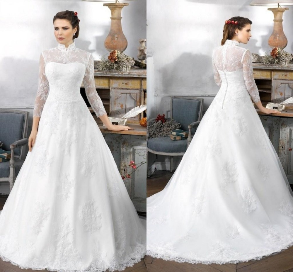 Cheap 3 4 Sleeve Wedding Dresses: Vintage High Neck Winter Romantic Wedding Dresses 2016 A