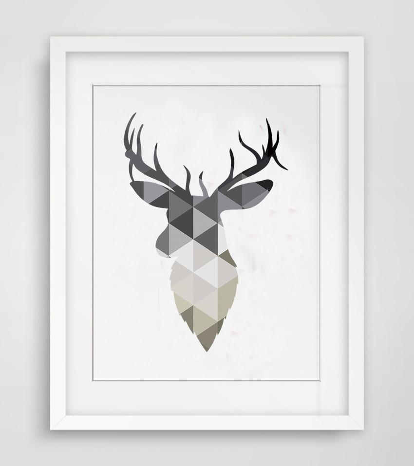 Geometric Purple Deer Wall Art Print Modern Poster Buck: Cotill Geometric Deer Head Canvas Painting Wall Art