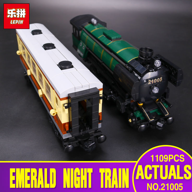 LEPIN 21005 1109pcs Technic Series Emerald Night Train Model Building Kit Blocks Bricks Toys 10194 Enducatianl Christmas Gift 2016 new lepin 21005 creator series the emerald night model building blocks set classic compatible legoed steam trains toys