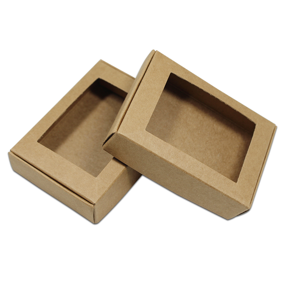40pcs/Lot Brown Kraft Paper Box Packaging Decorative Christmas Boxes With Window For DIY Gift Jewelry Pack Hollow Out Design Box