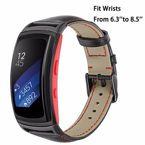 Image 4 - Genuine Leather Watchband for Samsung Gear Fit2 R360 / Fit 2 Pro R365 Replacement Watch Band Steel Clasp Strap Wrist Bracelet