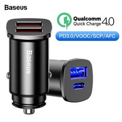 Baseus 30W Quick Charge 4.0 3.0 AFC SCP Car Charger For iPhone XS Max Xiaomi mix3 USB PD Type C Fast Charging Car Phone Charger