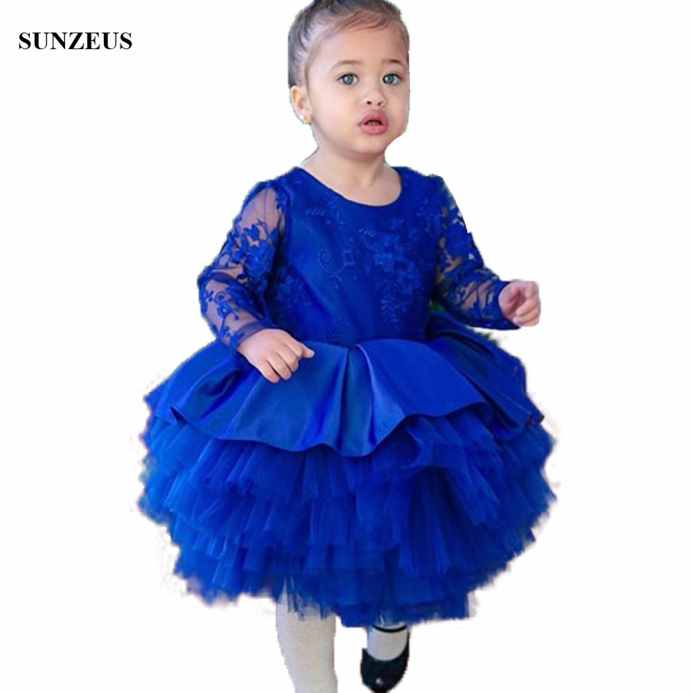 Ball Gown Lace Long Sleeve Children   Dress   For Party Knee Length Tiered Tulle Ruffles Kid Birthday Gown   Flower     Girl     Dress   FLG023