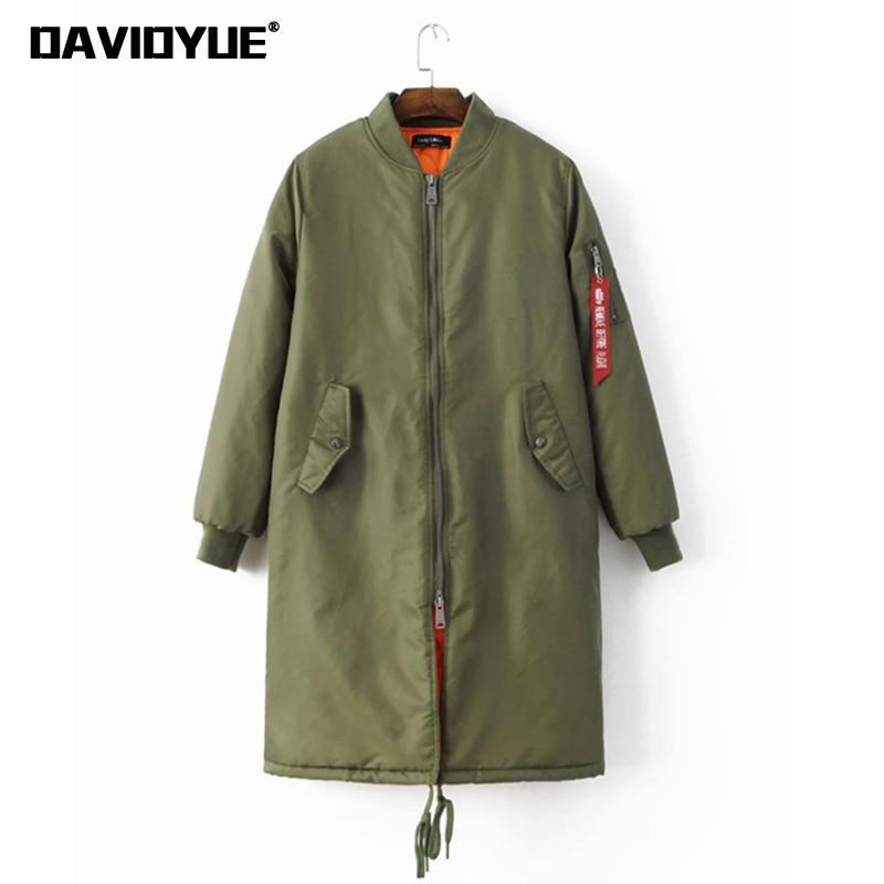 Winter military long bomber jackets women black army green zipper warm coats baseball jacket female biker outwear 2018 new