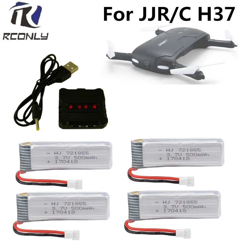 4 in 1 3.7V USB Charger X4 with 4pcs 3.7V 500mah lipo battery For JJRC H37 Eachine E50 SYMA X5HC X5HW RC Quadcopter Parts