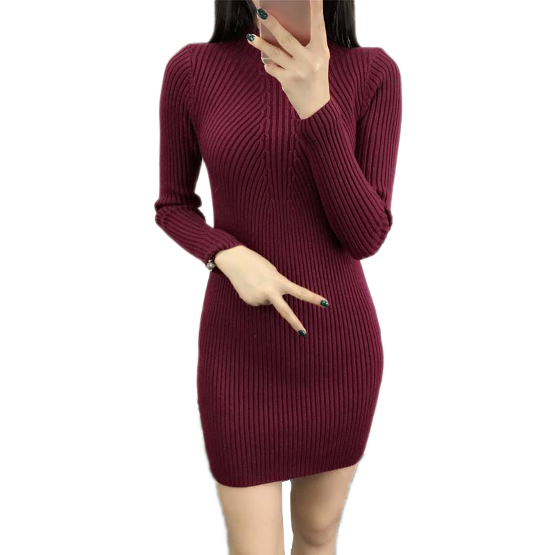 Sweater Knitting Winter Dress Slim Bodycon Sexy Dresses Fall Long Sleeve Wraps Dress For Women Large Size Cotton Office Dresses